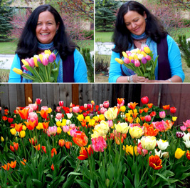 Photo of Denise and her tulips